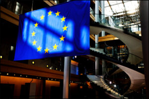 Flag of the European Union in the European Parliament in Strasbourg